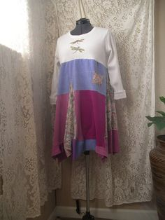 Lagenlook Funky Upcycled Tunic/ Boho T Shirt by CycleOnStitches