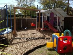 Cubby house and swing set by My Cubby. #Australia #ChristmasPresent #slide #sandpit #backyard #design #ideas #fun #activity #play