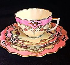 Aynsley C1885 Pink And Gold Guild Scalloped Tea Cup Saucer Plate With Roses Trio in Antiques, Decorative Arts, Ceramics & Porcelain | eBay