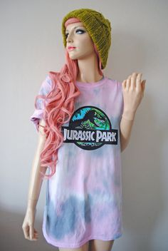 *Jurassic Park theme music plays*  *Limited run* Cute pastel dye t-shirts made to order, colour patterns may vary as each is unique. My clothing has been