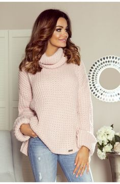 Pink  Turtleneck Jumper Long Sleeve European Fashion, Unique Fashion, Timeless Fashion, Womens Fashion, Cable Knit Sweaters, Knitwear, Golf, Turtle Neck, Tricot