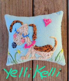 Puppy Love Freehand Embroidered Pillow Valentine by YelliKelli, $35.00