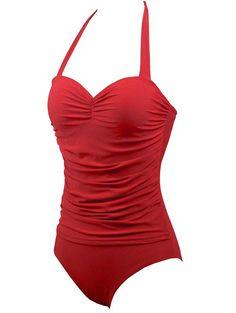 Halter Underwire One-Piece Retro Swimsuit One Piece Swimwear, One Piece Swimsuit, Red Swimsuit, Beautiful Lines, Bra Styles, Push Up, Fashion Design, Fashion Site, Men Fashion