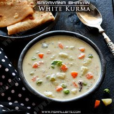 White Kurma Recipe / Saravana Bhavan Vellai Kurma Recipe is a mildly spiced korma prepared with green chilli, mixed veggies simmered in a creamy coconut paste along with cashews, fried gram which gives white colour to the korma. Veg Kurma Recipe, Sambhar Recipe, Kootu Recipe, Appam Recipe, Biryani Recipe, Curry Recipes, Vegetarian Recipes, Cooking Recipes, Pizza