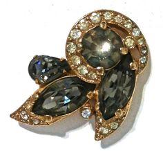 Vintage Eisenberg Ice Earrings Signed Eisenberg Ice Clip On Earrings Gold Tone & Black And Clear Rhinestones Costume Jewelry Bridal Jewelry by LastTangoVintage on Etsy
