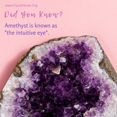 This beautiful crystal stimulates the Crown and Third Eye Chakras, which can help you develop psychic and intuitive abilities. ✨  Learn more about crystals. [click/tap on this image] The Crown, Third Eye, Chakras, Crystal Healing, Amethyst, Crystals, Image, Beautiful, Chakra