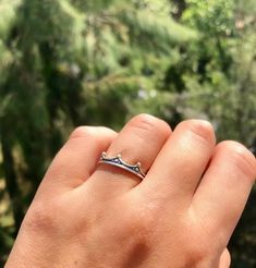 Crown ring, silver crown ring, tiny crown ring – Handmade with Love - Eleni Pantagis Chunky Silver Rings, Mens Silver Rings, Silver Rings Handmade, Sterling Silver Rings, Mens Band Rings, Black Rings, Crown, Greek Jewelry, Silver Jewelry