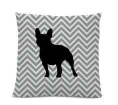 Chevron French Bulldog Pillow - Frenchie Silhouette Pillow - Gray Chevron Pillow - dog home decor - French Bulldog Decor - Dog Pillow by sophisticatedpup on Etsy