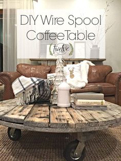 Wire Spool Coffee Table - I have been wanting to make this for a while! My DIY wire spool coffee table is everything I could have hoped for! Its so easy anyone can make it. Repurposed Furniture, Pallet Furniture, Furniture Projects, Rustic Furniture, Home Projects, Furniture Design, Painted Furniture, Wood Spool Furniture, Pallet Desk
