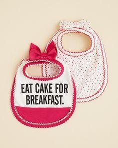 kate spade new york Infant Girls' Eat Cake for Breakfast Bib 2 Pack | Bloomingdale's