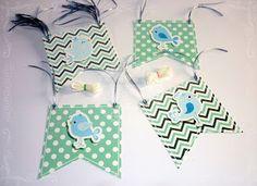 Guirnalda de banderines de papel - Bautismo - Pajaritos