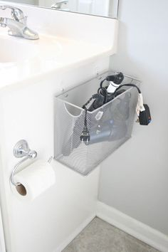 Bathroom electronics storage