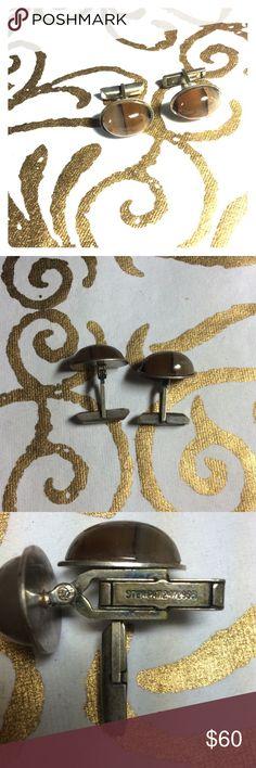 Beautiful unique banded agate/Sterling Silver cuff Cufflinks, unusual Jewelry