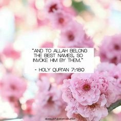 """""""AND TO ALLAH BELONG THE BEST NAMES, SO INVOKE HIM BY THEM."""" - HOLY QUR'AN 7:180"""