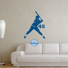 Add your jersey number to this wall decal to add softball to any space!
