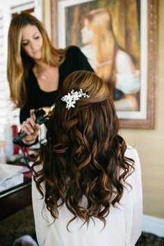 Love the curls except whole head and not half up