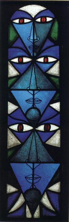 This a stained glass made by the French writer and artist Jean Cocteau. He made it for the church of th little village he chose to live in at the end of his life (Milly la fôret). Now he is buried in its very church under the eyes of his own work. Stained glass is much more tha a simple window because it creates the amosphere of a church. And this one reminds us a great man...as the first stained glass of History reminded people the Holy story.