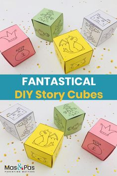 Story cubes are a great way to spark your child's imagination and encourage their creativity. Each time your child rolls one of their story cubes they will get different characters, settings and objects that they have to include in their story. We've created four different cubes for you to download and print out easily. So you can start telling or writing fantastical stories together today! #kidsfun #kidsactivity #storycubes #printable #freeprintable
