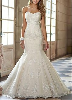 [212.49] Gorgeous Tulle & Satin With Lace Appliques Mermaid Sweetheart Floor Length Wedding Gown - Dressilyme.com #Dressilyme