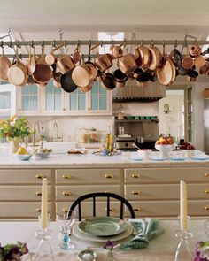 Martha Stewart's kitchen in the eighties. Timeless with all of those fabulous copper pans.