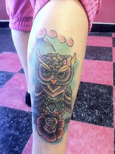 owl tattoo leg newbie flash the devils den copiague