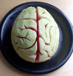 Eww... Hello Doctors or Halloween. Shaved watermelon brain for Fun Food