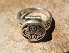Vintage Irish Celtic Poison Ring Locket  Sterling Silver  by MoonLightArtGallery
