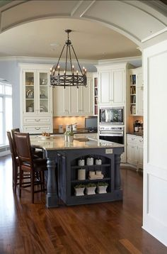 Kitchen Island with Sink, Painted In Benjamin Moore 'Brewster Gray' -  Love The Rustic Chandelier!