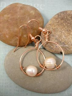 Copper wire wrapped freshwater pearl and hoop earrings | FadedLeaves - Jewelry on ArtFire