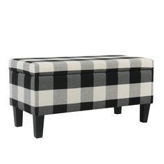 Large Decorative Storage Bench Black Plaid - Homepop