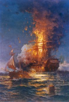 "16 February 1804 - in a daring raid during the First Barbary War, the US naval hero Stephen Decatur successfully burned the captured frigate USS ""Philadelphia"" in the harbour of Tripoli."