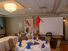 Sports theme bar mitzvah a Salem Waterfront Hotel with skiing centerpieces and light up basketball player by The Prop Factory, via Flickr