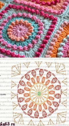Transcendent Crochet a Solid Granny Square Ideas. Inconceivable Crochet a Solid Granny Square Ideas. Crochet Mandala Pattern, Crochet Motifs, Granny Square Crochet Pattern, Crochet Blocks, Crochet Diagram, Crochet Chart, Crochet Squares, Crochet Granny, Crochet Stitches