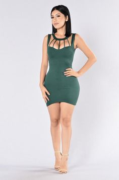 Available in Hunter Green Mini Dress Caged Front Sleeveless Zipper Back Made in USA Rayon Rayon Spandex Sexy Outfits, Dress Outfits, Cute Outfits, Fashion Outfits, Tight Dresses, Sexy Dresses, Cute Dresses, Short Dresses, Fashion Models