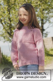 "Knitted DROPS jumper with raglan, worked top down in ""Merino Extra Fine"". Size 3 to 12 years. Free pattern by DROPS Design. Baby Knitting Patterns, Jumper Knitting Pattern, Jumper Patterns, Knitting For Kids, Free Knitting, Girls Jumpers, Girls Sweaters, Drops Design, Free Pattern"