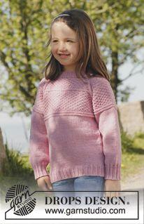 """DROPS bluse i """"Merino Extra Fine"""" med raglan, strikket ovenfra og ned. Str 3 til 12 år ~ DROPS Design"""
