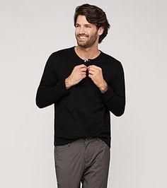 Langarmshirt aus Bio-Baumwolle in der Farbe schwarz bei C&A