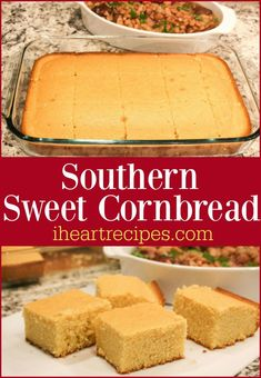 An easy delicious southern sweet cornbread made with basic ingredients - it's the perfect comfort food side! Southern Sweet Cornbread - I Heart Recipes Southern Sweet Cornbread Recipe Southern Cornbread Recipe, Best Cornbread Recipe, Honey Cornbread, Homemade Cornbread, How To Make Cornbread, Jiffy Cornbread, Gourmet Burger, Southern Cooking Recipes, I Heart Recipes