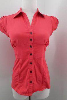 BANANA REPUBLIC Button DownOrange Coral Short Sleeve Top Size 2P #BananaRepublic #ButtonDownShirt