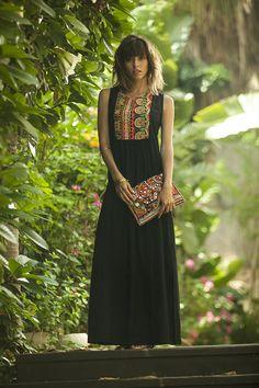 Tribales verano Maxi vestido caftán largo étnicos bordados