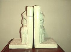 White Knight Bookends by KittyHawVintage on Etsy, $28.00