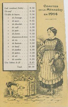 Comptes de la ménagère en 1914