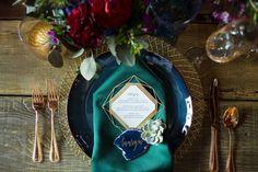 Blue and aquarmine wedding place setting. Styled Shoot: Gemstones & Geodes…