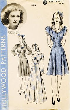 """What a delightful dress!  Hollywood Patterns circa 1940s, with gathers in the upper bodice and an inverted """"v"""" seam.  Sigh!"""