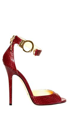 Jimmy Choo ~ Leather Ankle Strap Stiletto Sandal Red