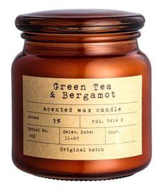 Candle in Glass Jar   Dark orange/green tea-bergamot   H&M HOME   H&M US