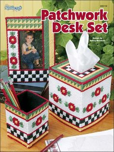 Plastic Canvas - Accessories - Decorations & Knickknacks - Patchwork Desk Set - #FP00481