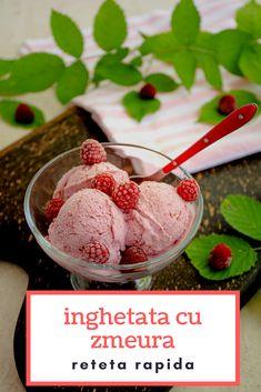 Cea mai simplă și cea mai rapidă rețetă de înghețată de casă cu zmeură. Fără aparat de înghețată și fără ace de gheață. Delicioasă și atât de ușor de făcut! #bucatearomate #inghetata #inghetatacuzmeura #zmeura #inghetatadecasa #inghetataculaptecondensat #inghetatacufrisca Mai, Ice Cream, Desserts, Food, Sherbet Ice Cream, Meal, Deserts, Essen, Hoods