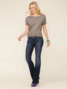 The top and jeans, please. Swiss Dot A-Pocket Flared Jean by 7 for All Mankind on Gilt.com
