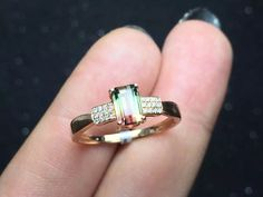 Hey, I found this really awesome Etsy listing at https://www.etsy.com/listing/243437251/watermelon-tourmaline-engagement-ring-bi